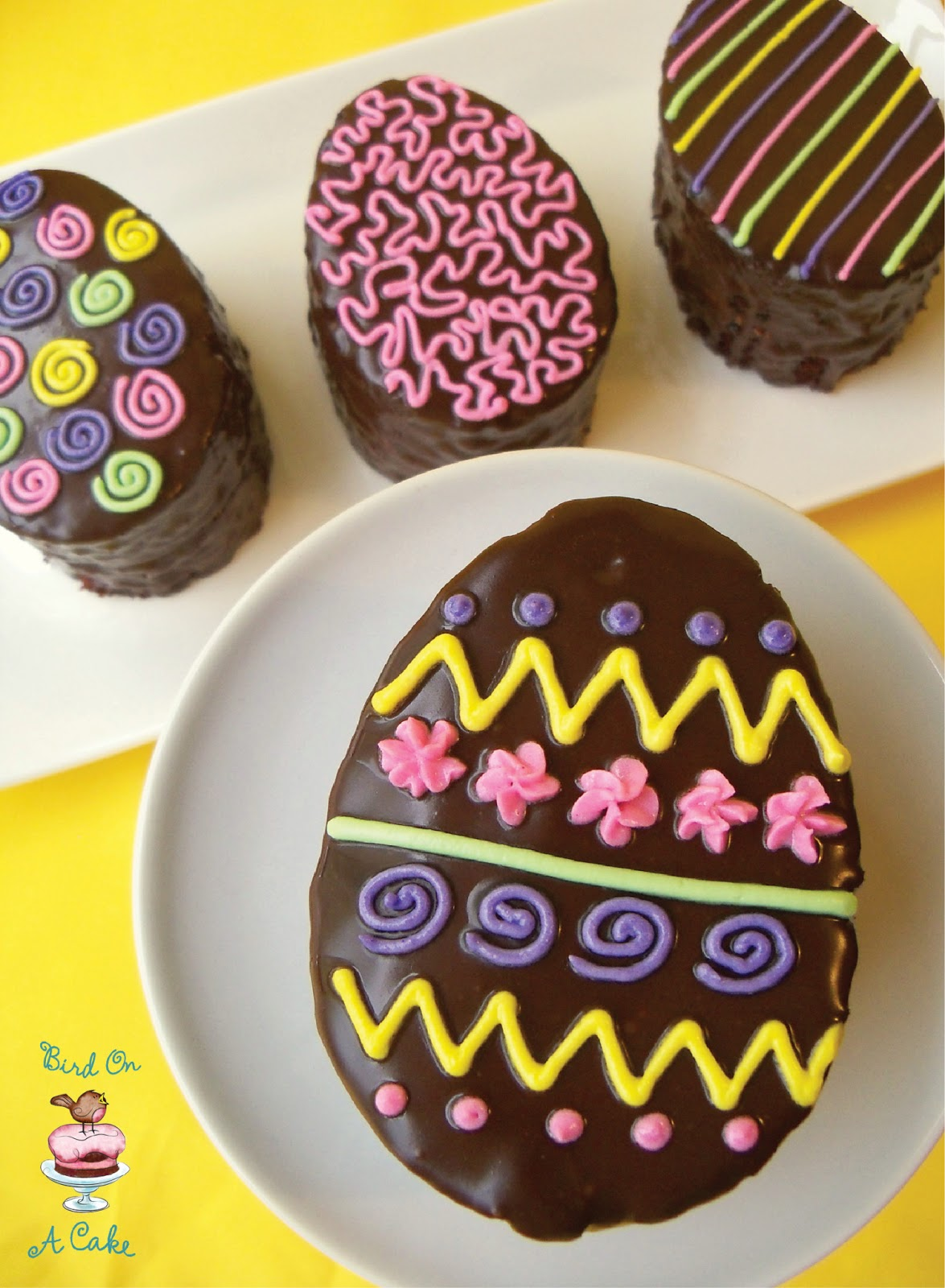 Cake Decorated With Easter Eggs : Bird On A Cake: Chocolate Easter Egg Mini Cakes