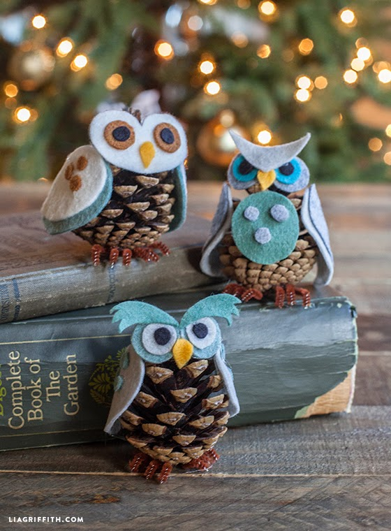 DIY Felt & Pinecone Owl Ornamants