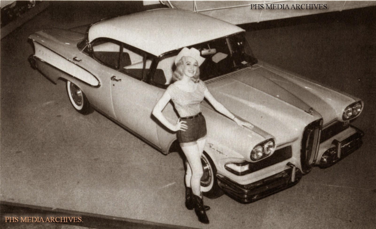 Phscollectorcarworld April 2014 Body Wiring Diagram For 1946 47 Chevrolet Dynamic Coupe Style 1007 Gingham Checked Blouse White Stetson And Cowgirl Jeans Provided A Very Saucy Picture The New Edsel Ranger This Was Cheesecake 1958
