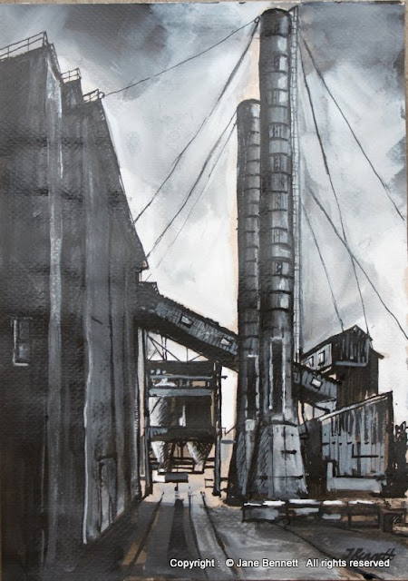 ink wash and gouache drawing on paper of White Bay Power Station, Rozelle by artist Jane Bennett