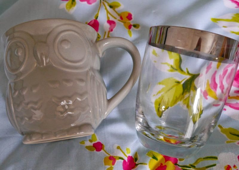BHS Owl Mug and Silver Rimmed Glass