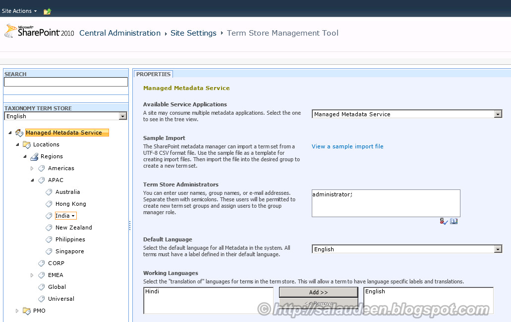 Configuring Managed Metadata Service in SharePoint 2010 - Step by Step Guide