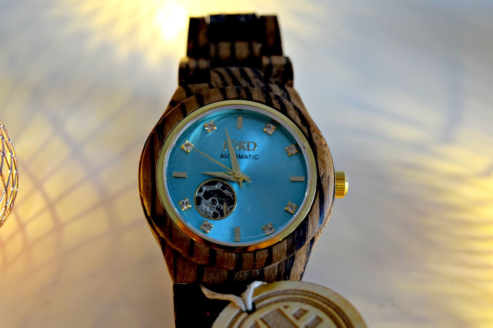 Zebrawood and Turquoise Wood Watch By Jord