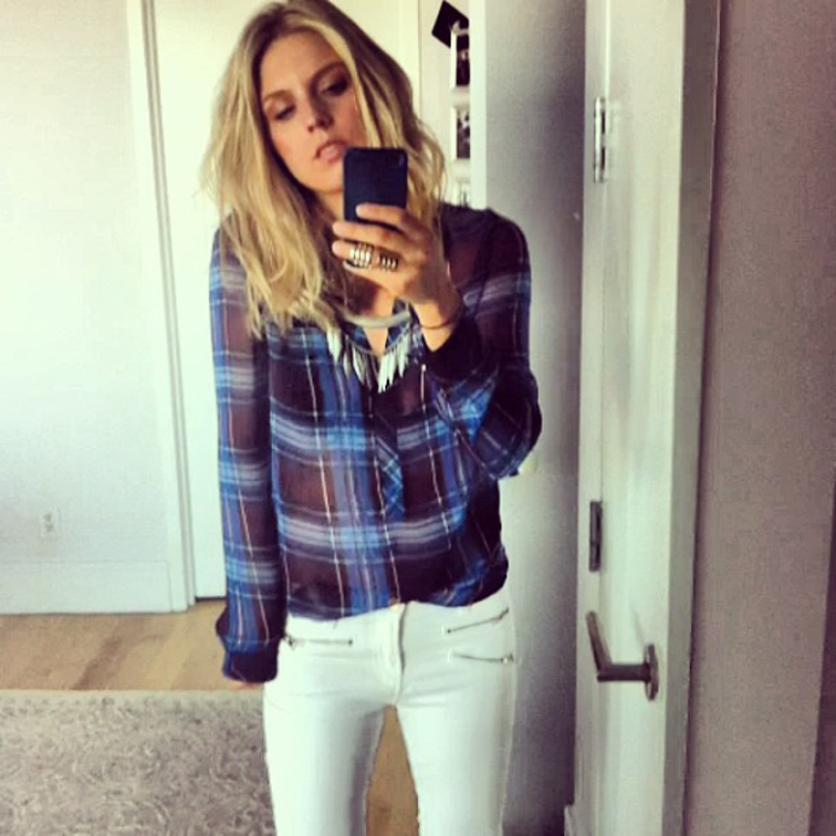 Fashion Over Reason Plaid H&M top White Jeans Armor Ring