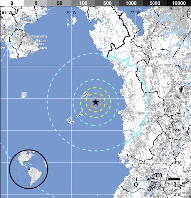 Epicentro sismo 6,7 grados Panamá, 13 de Agosto 2013
