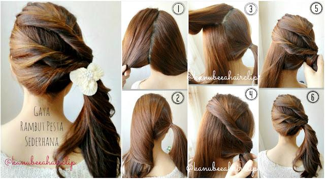 Langkah 1. bagi rambut menjadi 2 bagian, kanan dan kiri. ikat rambut