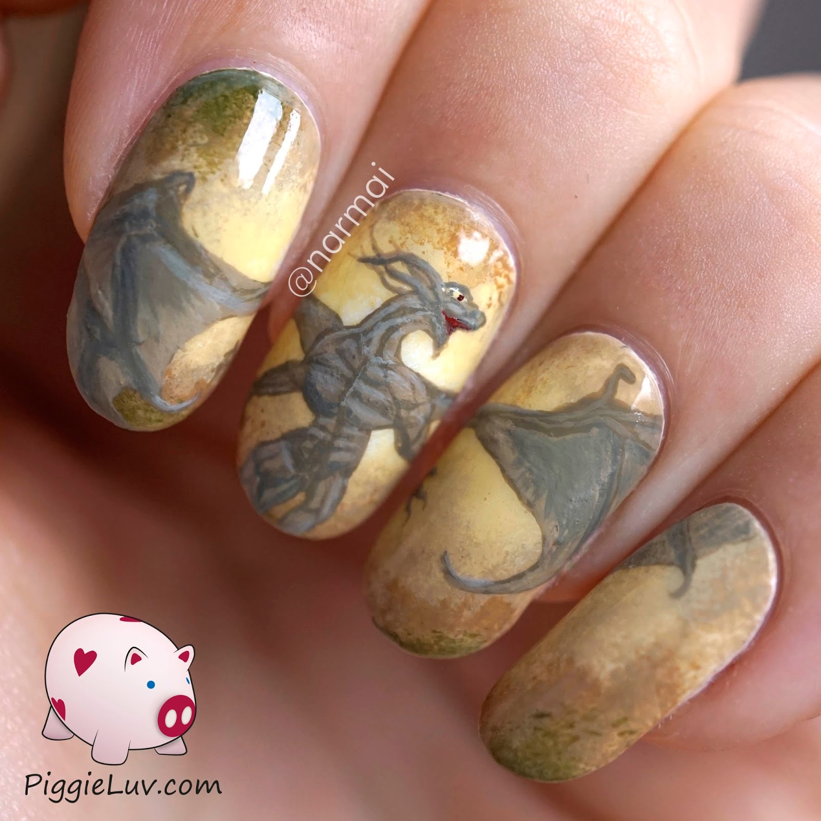 Ногти рисунок дракон фото