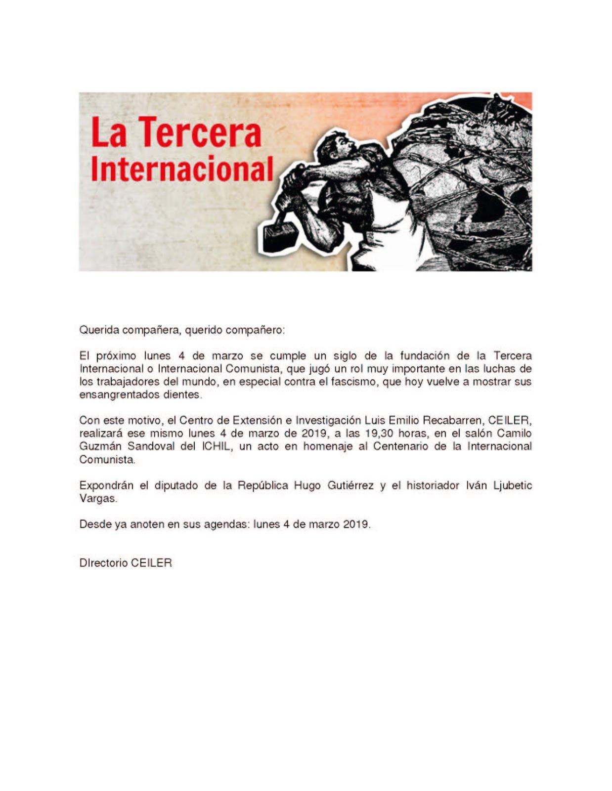 INVITACIÓN CEILER. Centenario de la Internacional Comunista