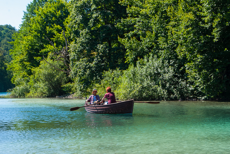 boat rowers on lake bled, slovenia