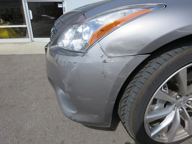 Collision damage before repair at Almost Everything Auto Body