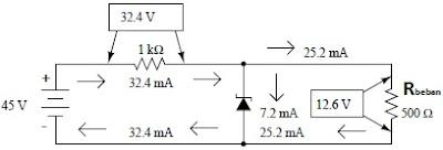 Regulator zener dengan resistor seri 1 kΩ dan beban 500 Ω