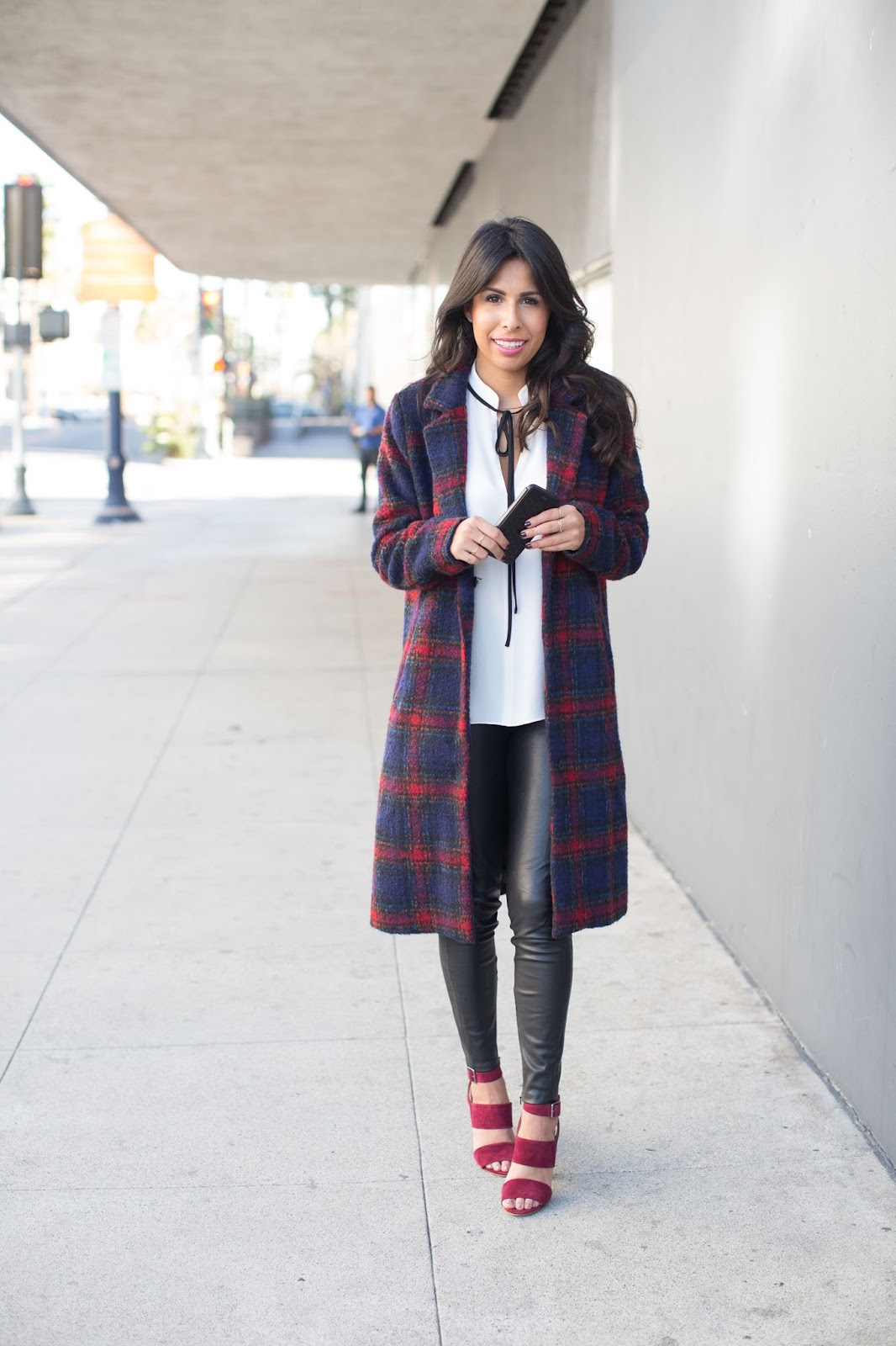 how to wear plaid coat, madewell heels, oxblood heels, leather pants, winter outfit