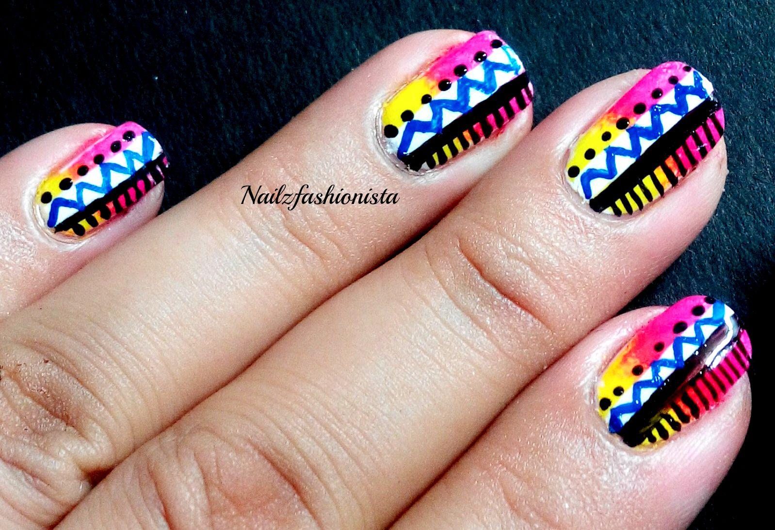 Nailzfashionista: Neon Tribal Nail Art in Collaboration With FLIPKART