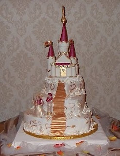 Castle Wedding Cakes Decorated with Golden Paper