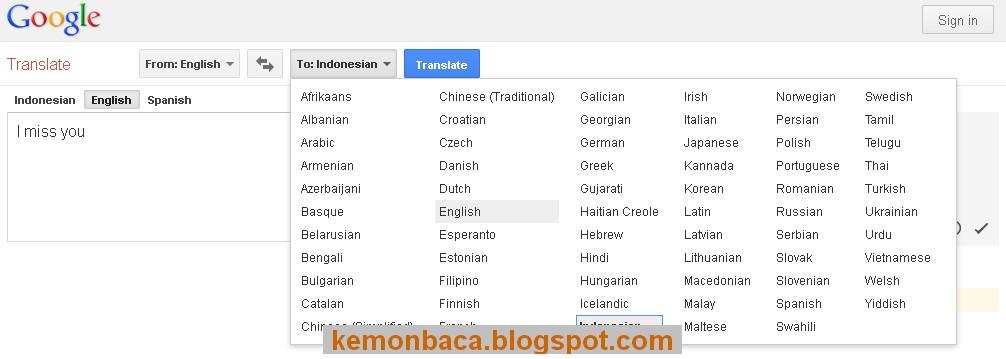 terjemahan indonesia