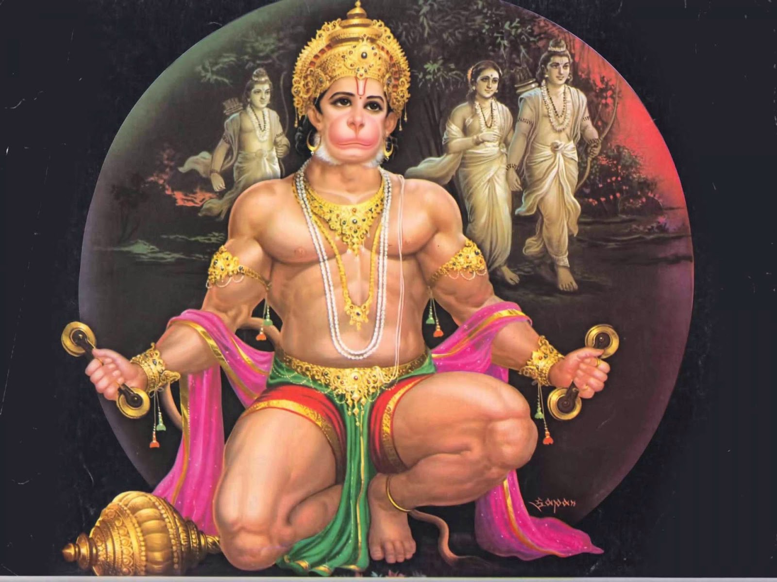 Shree Hanuman with Rama-Sita and Lakshman.