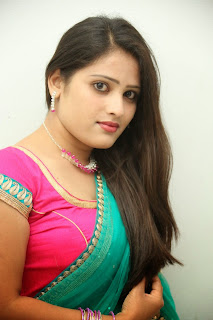 Anusha South Indian Aunty actress in Sexy Bright Saree Hot Navel ...