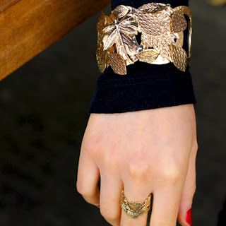 Leaf Embossed Bracelet and Ring