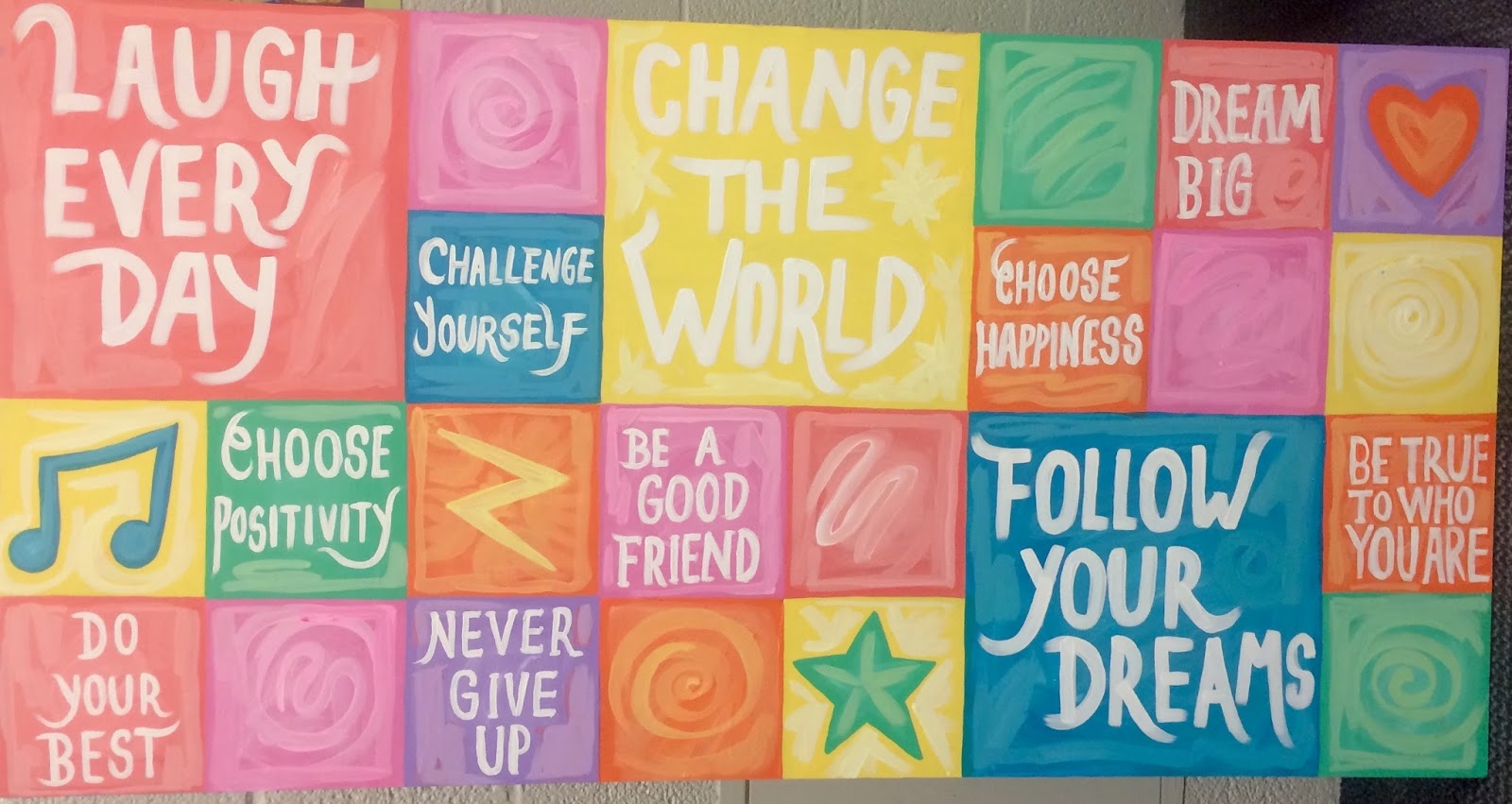 The talking walls warm and fuzzy positivity board for Mural vision tv