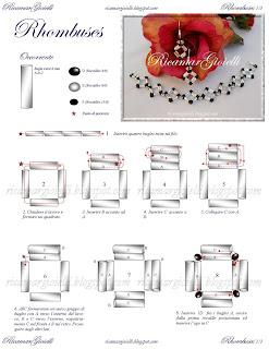 schema e spiegazioni per bracciale ed orecchini a rombo realizzati con bugles twist e rocailles