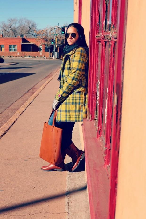 Tartan Coat, Levis Jeans, GAP Boots, Cuyana Bag, Tanvii.com