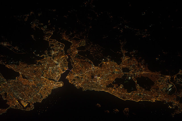 Satellite photo of the Istanbul area in Turkey as seen from space