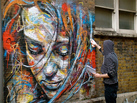 street art vibrant female portraits by David Walker