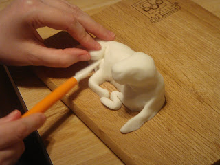 Fondant dog sculpture in progress