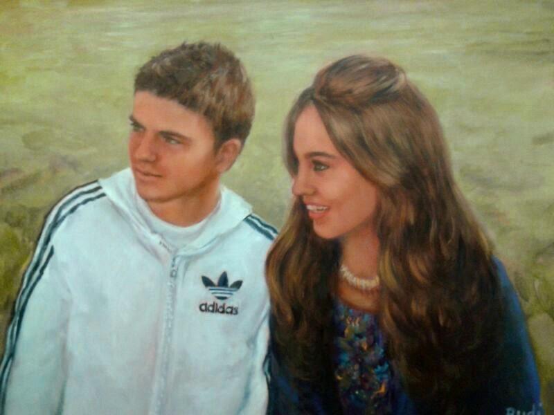 Retrato óleo pareja jóvenes pintora Rudi