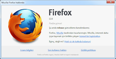 Firefox 12 kurulum (güncelleme) sonrası aldığımız ekran görüntüsü