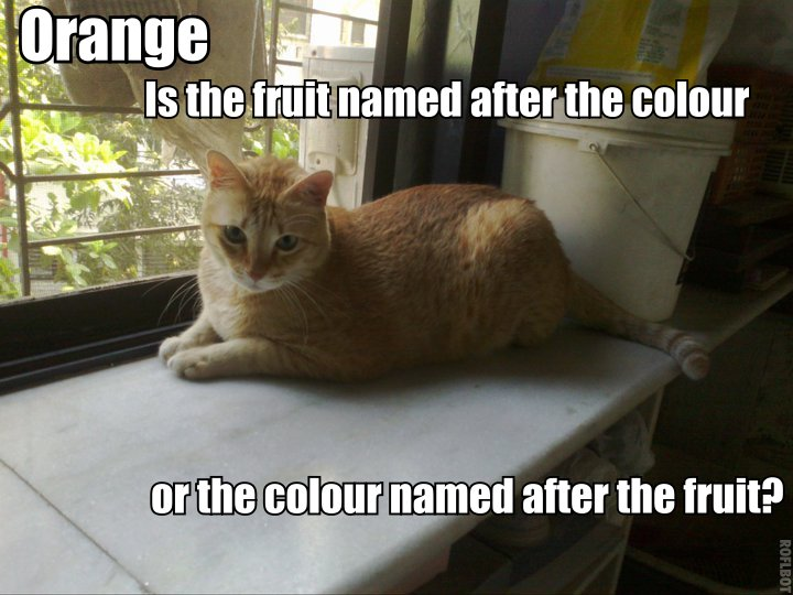 Orange - Is the fruit named after the colour or the colour named after the fruit?