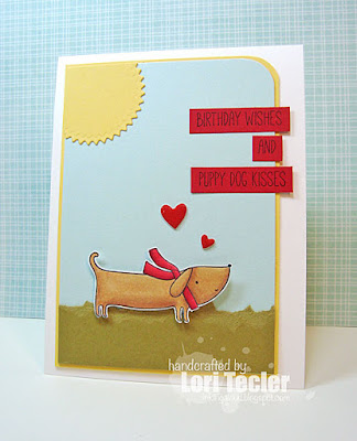 Birthday Kisses and Puppy Dog Wishes card-designed by Lori Tecler/Inking Aloud-stamps from My Favorite Things