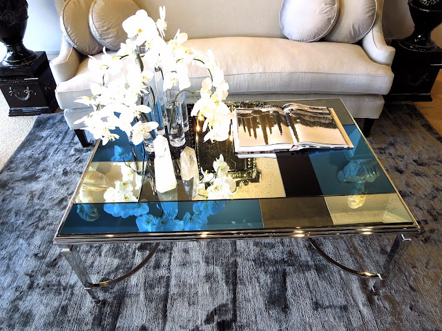 Coffee table with glass square tiles for top from Windsor Smith for Century Furniture
