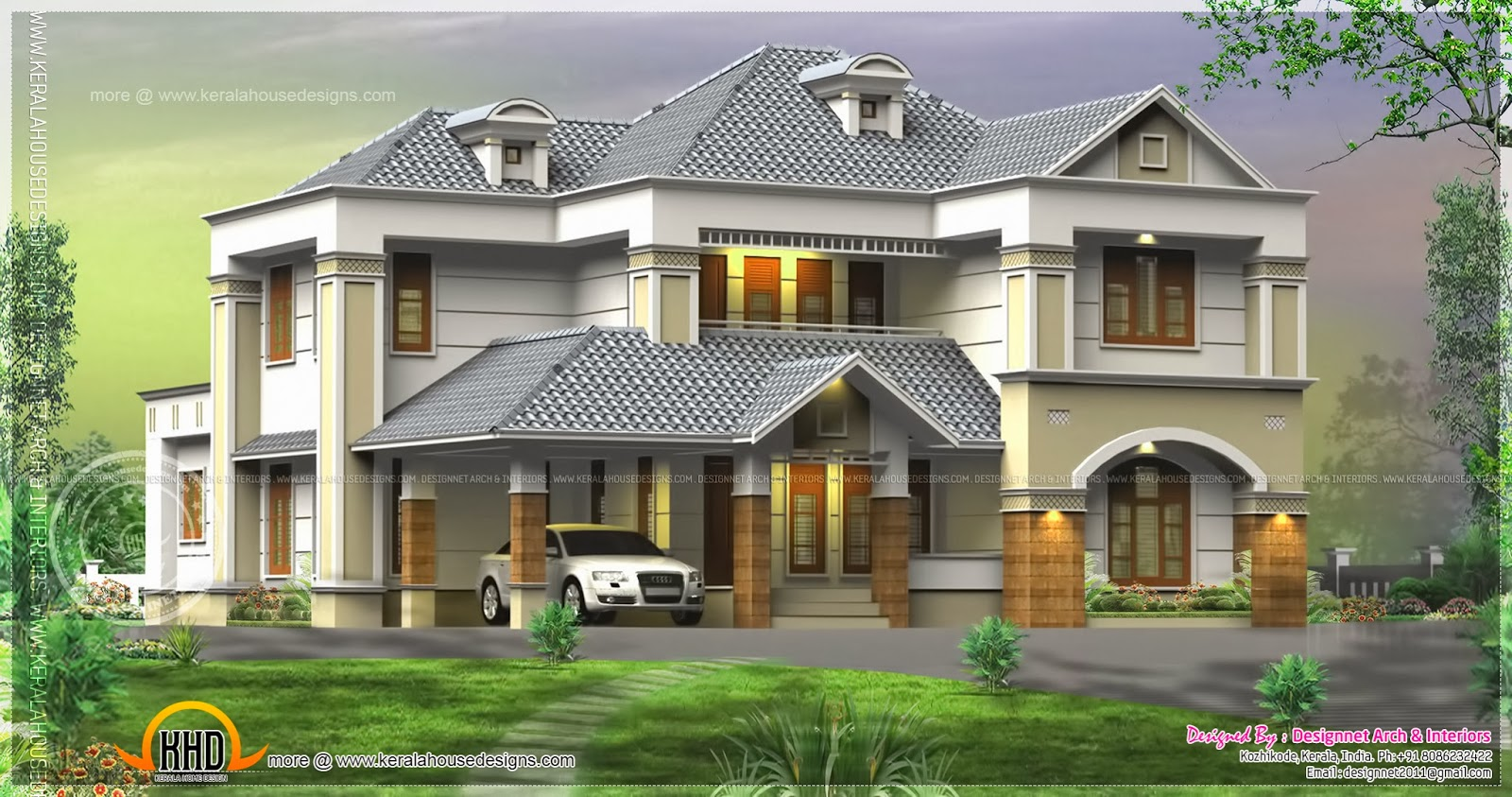 Beautiful flat roof house design in 2470 square feet Three d house plans
