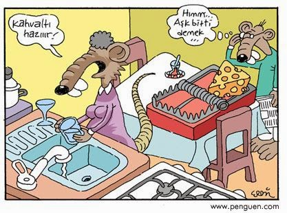 karikatür kahvaltı hazır aşk bitti demek