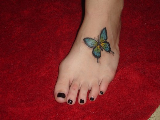 butterfly foot tattoo designs for girls and women. Black Bedroom Furniture Sets. Home Design Ideas