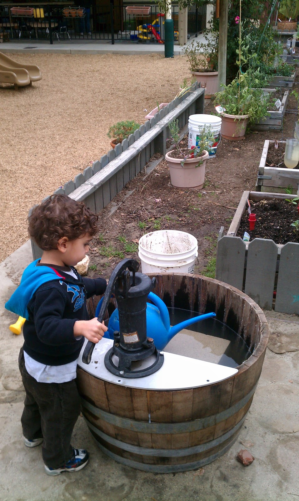 Exploring the outdoor classroom barrel pumps in the for Garden water pump