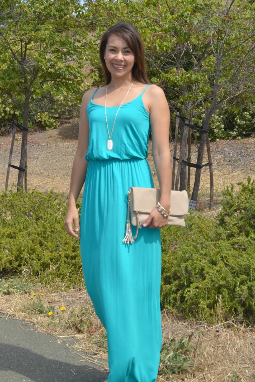 Jade colored maxi dress
