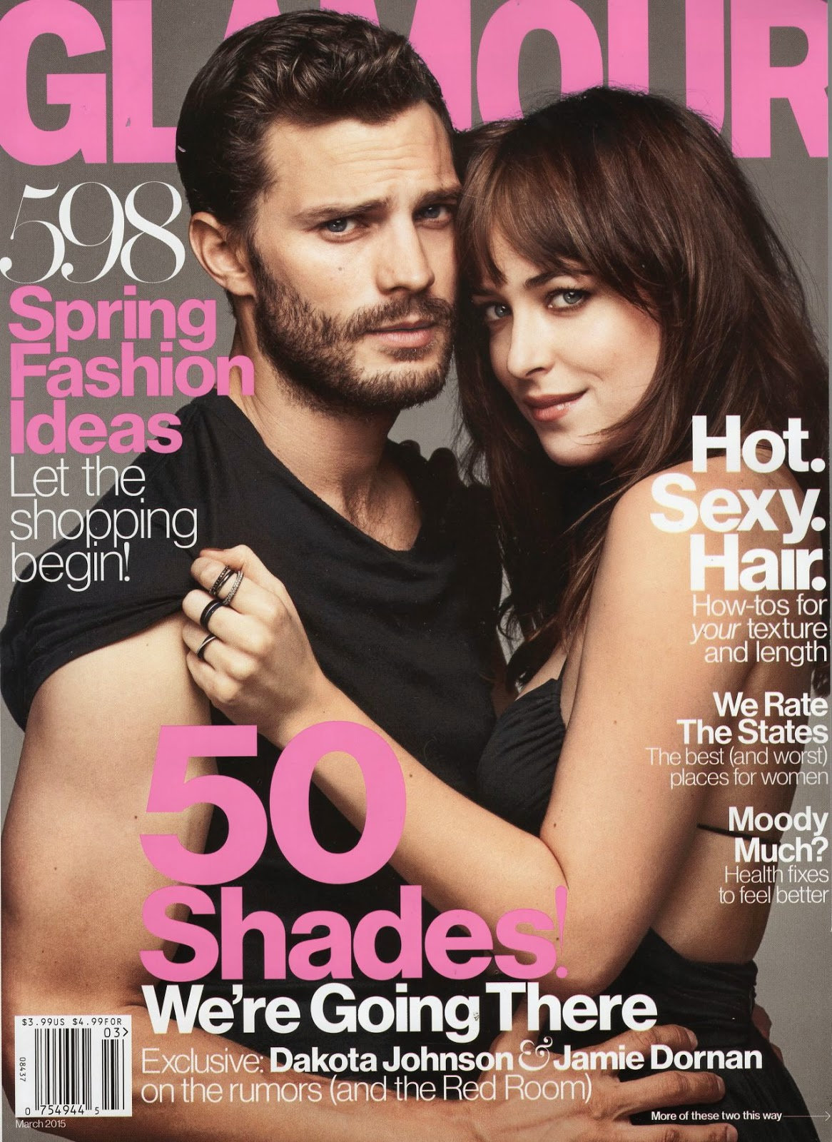 Jamie Dornan and Dakota Johnson get together for Glamour UK's March 2015 cover story