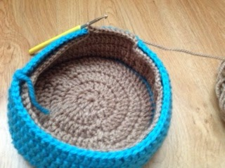 lined crochet basket, furby nest