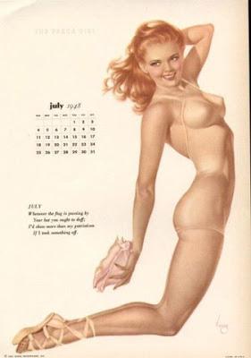 sexy illustration calendrier 1947 pin up arlberto vargas
