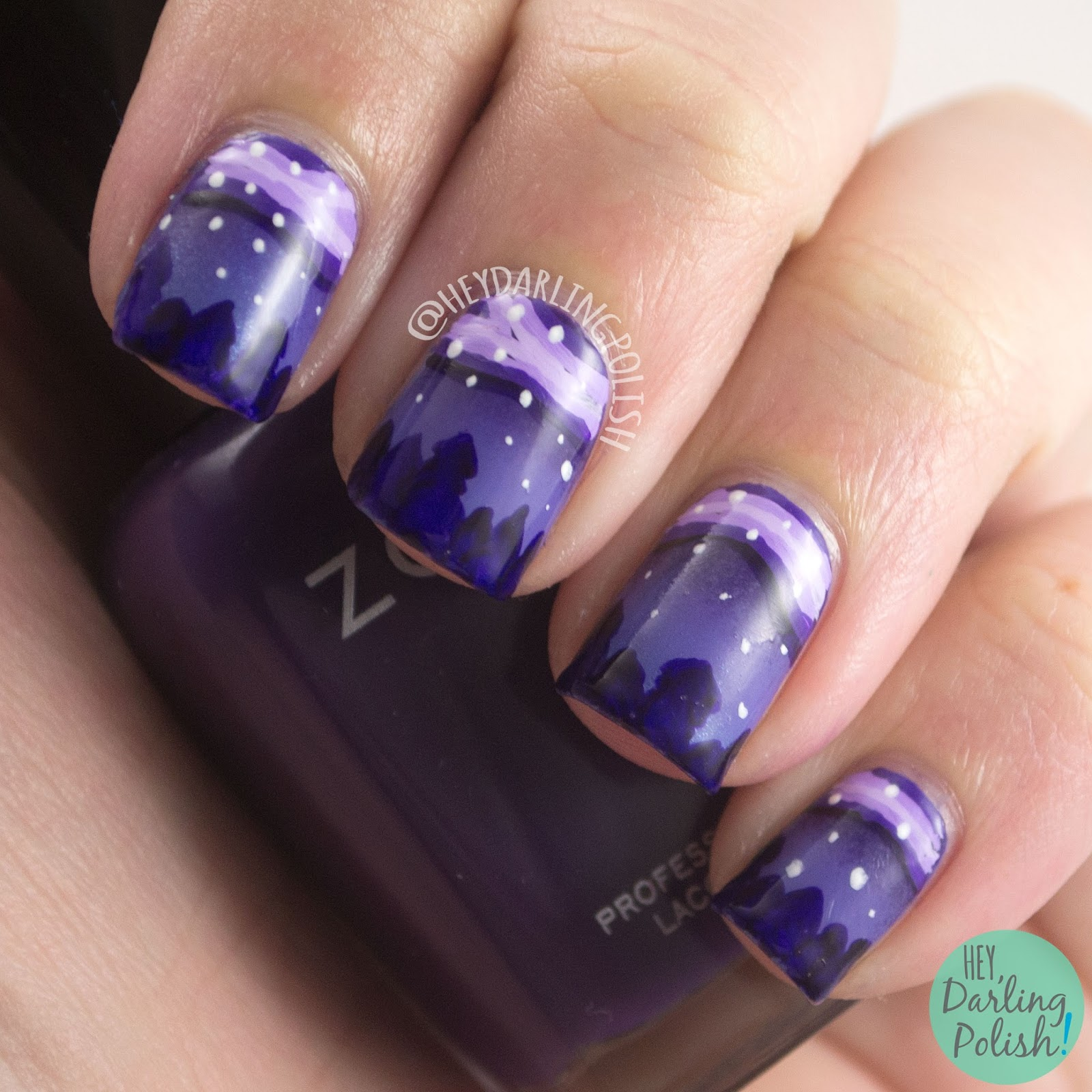 nails, nail art, nail polish, purple, outdoors, trees, night sky, night sky nail art, hey darling polish, the nail art guild