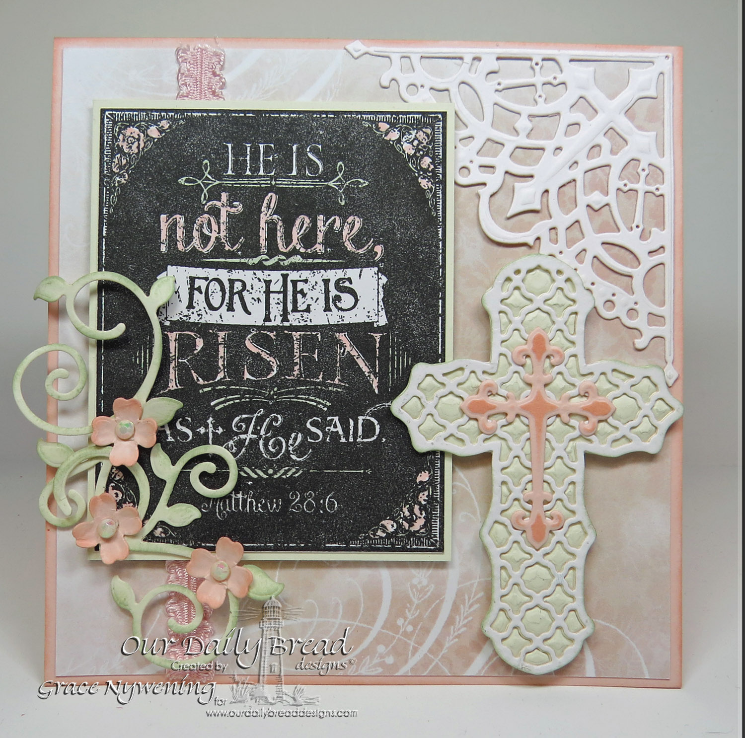 Stamps - Our Daily Bread Designs He Is Risen Chalkboard, ODBD Custom Fancy Foliage Die, ODBD Custom Ornamental Crosses Dies, ODBD Custom Decorative Corners Dies, ODBD Shabby Rose Paper Collection
