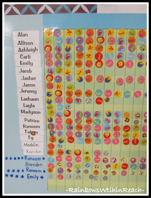 photo of: Recognizing Positive Behavior with Stickers (Charting Positive Behavior RoundUP via RainbowsWithinReach)