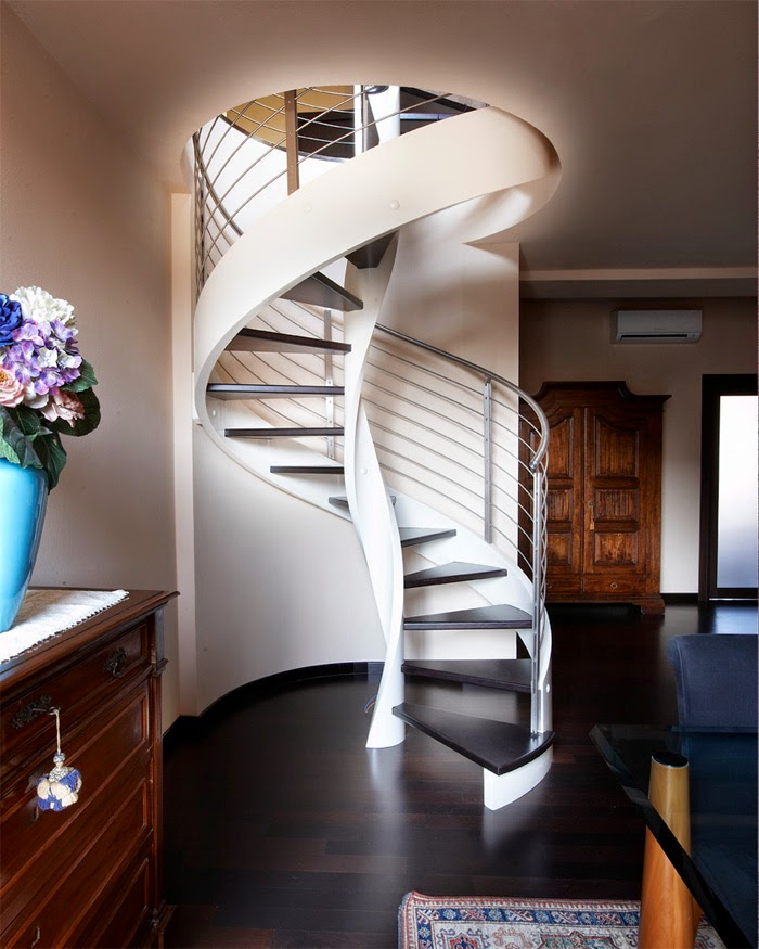 wooden spiral stairs , modern stairs