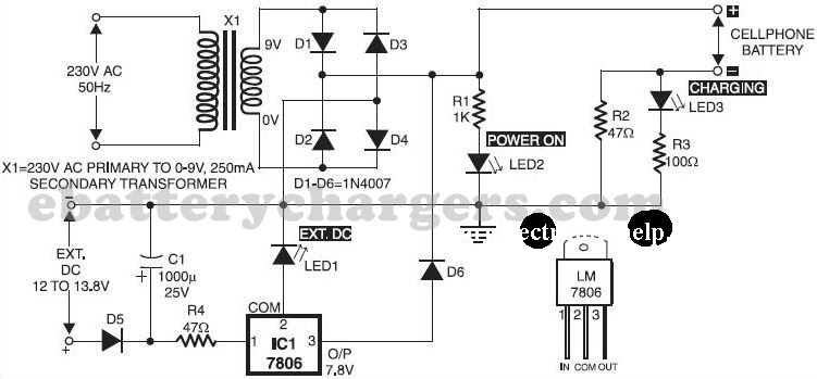 Mobile phone battery charger circuit diagram Learn Basic