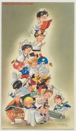Torre de niños disfrazados de médicos