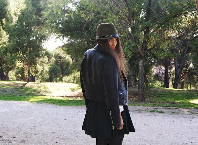 look hat biker jacket skirt Zara