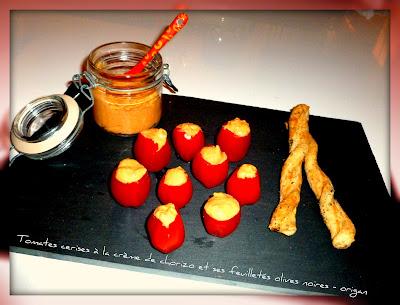 image Tomates cerises à la crème de chorizo et ses feuilletés olives noires-origan