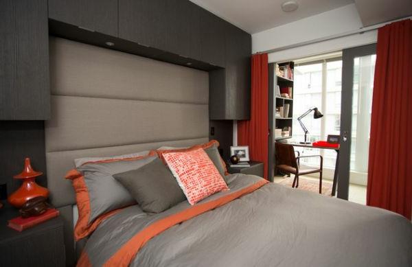 Dormitorio en naranja y gris dormitorios colores y estilos for Dormitorio gris